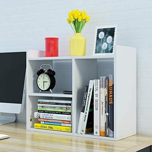 HZYDD Estantería de escritorio, color blanco, pequeño gabinete de almacenamiento, simple multicapa, escritorio de oficina, pequeña librería de 50 x 16,8 x 40 cm