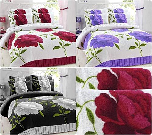 Artistic Fashionista* NEW Soft Warm & Cosy Teddy Bear Fleece ROSALEEN FLORAL Duvet Quilt Cover Pillowcases Bedding Set (Fabric Sample, Single)
