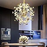 G4 Luz De Lujo LED Cristal Lámpara De Araña Luces,Creatividad Personalidad Pétalo Redondo Durante La Iluminación,Luz Colgante,Comedor Tienda De Ropa Dormitorio Salón-Dorado 80cm26 cabeza