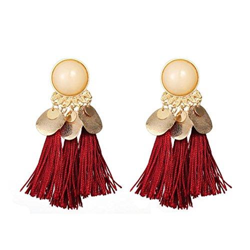 Fossrn Pendientes Mujer Baratos, Bohemia Pendientes Mujer Flecos Borlas Aretes (Rojo)