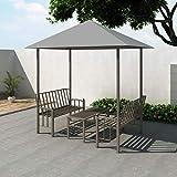 Festnight Gartenpavillon Set 2,5 x 1,5 x 2,4 m Anthrazit | Pavillon mit Tisch und B?nken | Festzelt Partyzelt Zelt Wetterfest UV-best?ndig