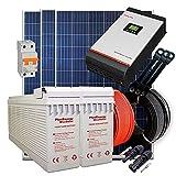 Kit Solar 24V 900W / 4.500W Día + 3 Paneles + 2 Baterías FT-250Ah + Inversor Multifunción 3kva con Regulador PWM 50A