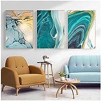 キャンバス印刷、抽象的なゴールドグリーンフォイルラインポスターとプリント創造性壁アート絵画、家の装飾フレームなし