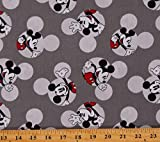 Cotton Disney Mickey Mouse Cartoon Characters Mickey Head Toss Gray Cotton Fabric Print by The Yard (D568.87)