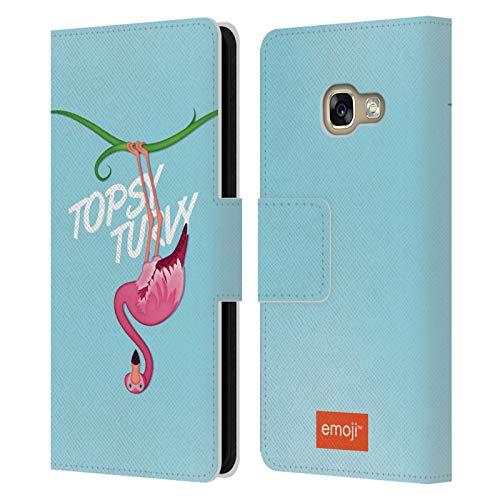 Head Case Designs Oficial Emoji Topsy Turvy Flamingos Carcasa de Cuero Tipo Libro Compatible con Samsung Galaxy A3 (2017)