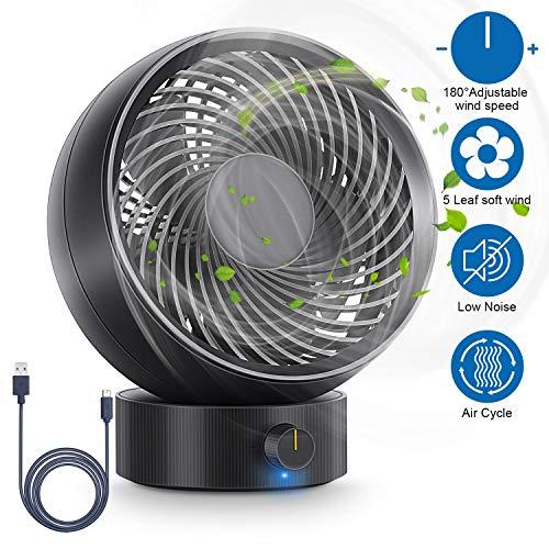 RenFox USB Ventilator, Ultra Leise - Mini Tischventilator Lüfter, Tragbarer leiser Mini Ventilator im Büro, mit gedrehtem Kopf, für Büro, Zuhause und im Freien (Schwarz)