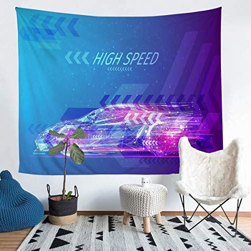 Loussiesd Race Sports Car Wall Blanket Kids Extreme Sports Theme Tapiz para niños adolescentes hombres Cool Geométrico Stripe Racing Car Decor Wall Hanging Automobile Style Wall Art Large 58x79