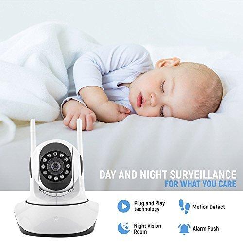 Surveillance Camera PTZ IP met dubbele antenne en kabel voor plug and play opgezet | 1.3 MP resolutie | In ingebouwde WI-FI met 360 graden+90 graden totaalbeeld | Ondersteunt 64 GB SD-kaart en V 380 Software