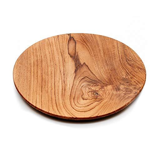 Runde Platte aus Teakholz, Größe XL, Natürlich