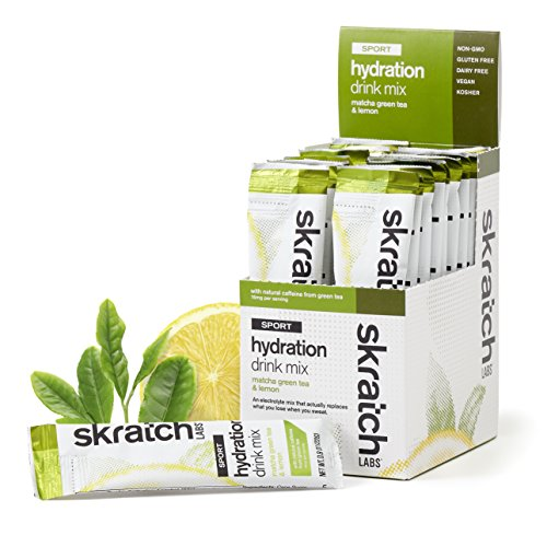 SKRATCH LABS Sport Hydration Drink Mix, Matcha Tea & Lemon (20 single serving packets) - Natural, Electrolyte Powder Developed for Athletes and Sports Performance, Gluten Free, Vegan, Kosher