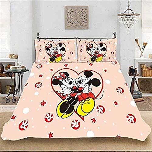 QWAS Mickey Mouse - Juego completo de ropa de cama para mujer, diseño de dibujos animados, microfibra, fácil de limpiar (A01, 200 x 200 cm + 50 x 75 cm x 2)