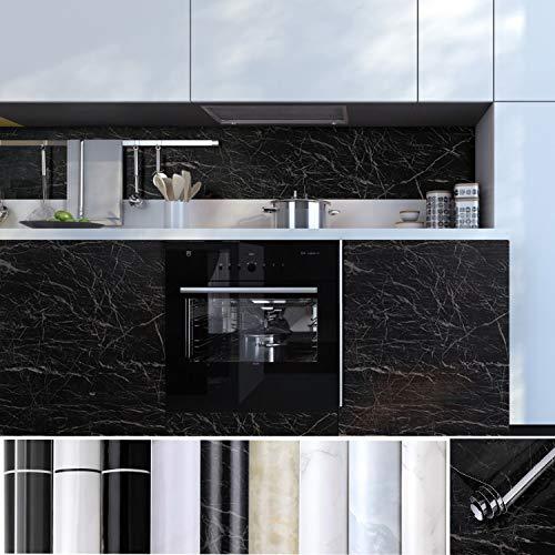 KINLO Tapeten Küchenrückwand folie Möbelfolie Aufkleber aus PVC Küchenschränke 0.61 x 5 m Selbstklebende Küchenfolie Dekofolie Schrank Folie Wasserfest für Küche und Bad…