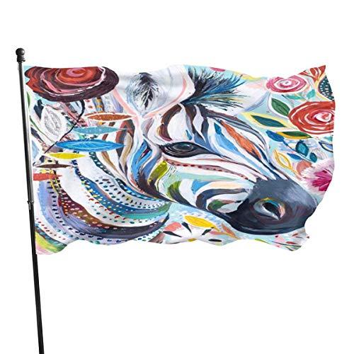 Jacklee Zebra Dier Kleurrijke Schilderij Tuinvlaggen Duurzame Fade Resistant Decoratieve Vlaggen Premium Officiële Vlag met Grommets Deluxe Outdoor Banner 2020 voor Alle Seizoenen & Vakanties- 3X 5 Ft