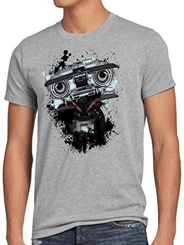 style3 Nummer 5 Herren T-Shirt Johnny fünf Roboter Short Circuit, Größe:XL, Farbe:Grau meliert