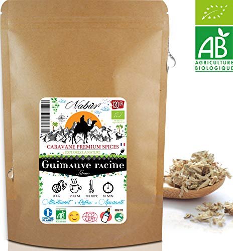 Nabür - Tisane Guimauve BIO 120 Gr ⭐ Racine coupée - Détox, Digestion, Transit, Reflux 🌿 Favorise la lactation