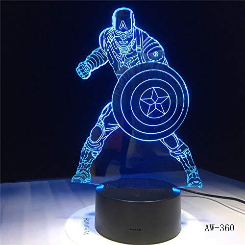 Film Captain America Shield Abbildung 3D Multicolor Acryl Tisch Nachtlicht LED Illusion Touch USB Tischlampe Junge Kinder Spielzeug Kinder Geschenk 360