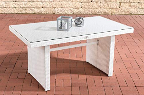 CLP Polyrattan-Gartentisch FISOLO mit Einer Tischplatte aus Glas I Wetterbeständiger Tisch aus Kunststoff, Farbe:weiß