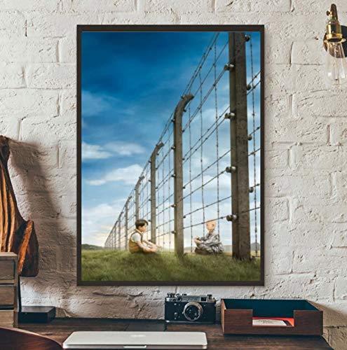 MGSHN Der Junge im gestreiften Pyjama Film Classic Cover Keine Worte Poster Artwork Einzigartige Wanddekoration Gemälde Druck auf Leinwand -50x70cm Holzinnenrahmen