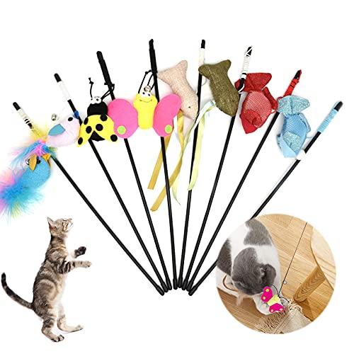 BOW CALICO Juguete de la Pluma del Gato,Juguete Pluma de Gato Interactivo,Juguete de Cazador de Gatos Interactivo Varita para Ejercitar Gatos y Gatitos(8 pezzi