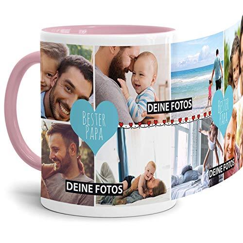 Tassendruck Fototasse mit Spruch - Bester Papa - zum SELBSTGESTALTEN mit Foto-Collage für 8 WUNSCHFOTOS - Bestes Fotogeschenk für Papa - Innen und Henkel Rosa