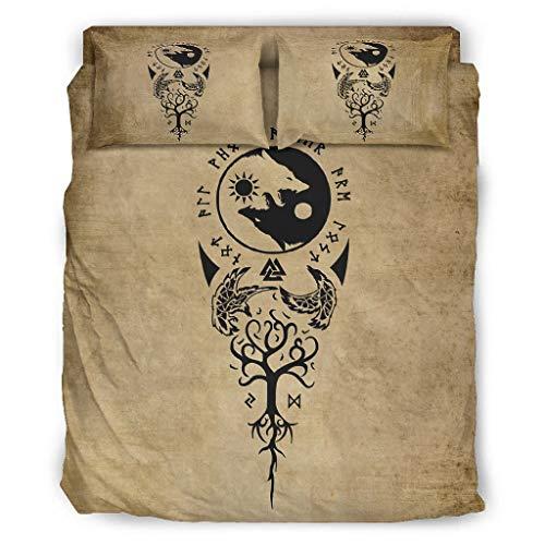 FFanClassic Juego de cama de 4 piezas, diseño de cuervos, Yin Yang, lobo elegante, cálido, 240 x 264 cm, color blanco