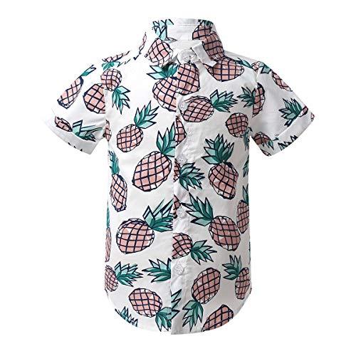 inlzdz Kleinkind Baby Jungen Hawaii Hemd Top Kurzarm Baumwolle Ananas Gedruckt Button Down Freizeithemd Aloha Shirts Sommer Kleidung Beachwear Weiß 92-98
