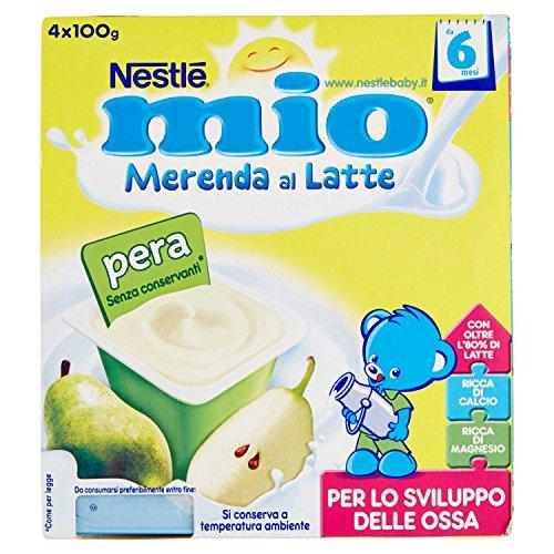 Nestlé Mio - Merenda al Latte Pera, senza Glutine, da 6 Mesi - 3 confezioni da 4 vasetti di plastica da 100 g [12 vasetti, 1200 g]