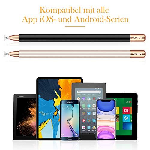 MEKO 2 Stücke 2 in 1 Eingabestift Disc Touch Stylus Pen universal Touchstift 100% kompatibel mit Allen Tablets Touchscreen iPhone iPad Surface Huawei usw, magnetische Kappe (Schwarz+Champagner)