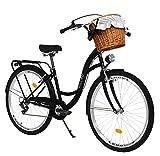 Milord. Bicicletta Comfort Nero a 7 velocità da 26 Pollici con cestello e Marsupio Posteriore, Bici Olandese, Bici da Donna, City Bike, retrò, Vintage