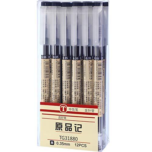 Bolígrafos de Tinta Gel Negra de Punta Extra Fina 0,35 mm para Oficina Escuela Papelería (12 Piezas)