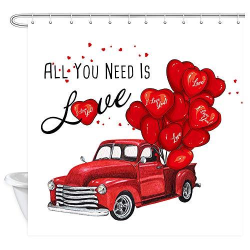 NYMB Love Duschvorhang, romantischer Luftballon auf rotem Landwirtschafts-LKW Duschvorhang für Badezimmer, Polyester-Stoff, Muttertag, Hochzeit, Party, Dekoration, Duschvorhang, 12x 177,8 cm
