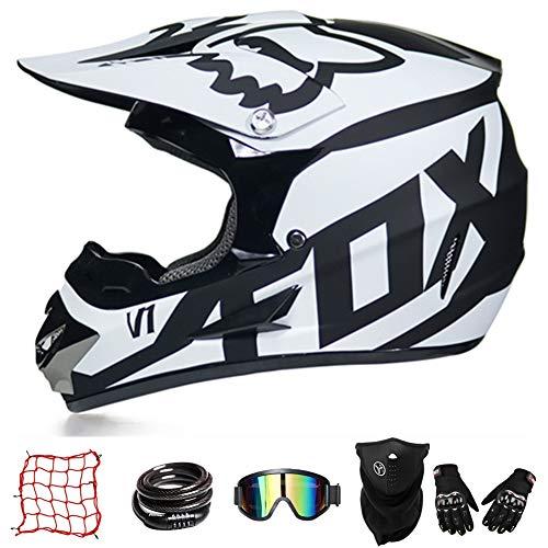 Casco De Moto De Cross-Country ZYLH, Casco De Cross con Gafas, Casco para Jóvenes, Casco De Cross para Niños, Casco De Descenso para Niños, Protección Facial Combinada (L(57-58cm))