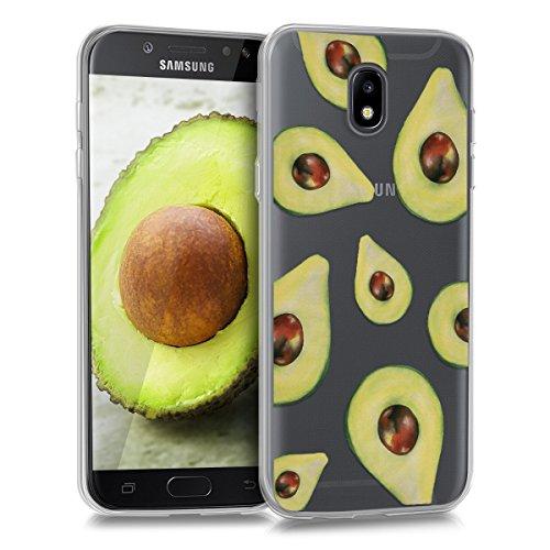 kwmobile Funda compatible con Samsung Galaxy J5 (2017) DUOS - Carcasa de TPU y diseño de aguacates en verde / transparente