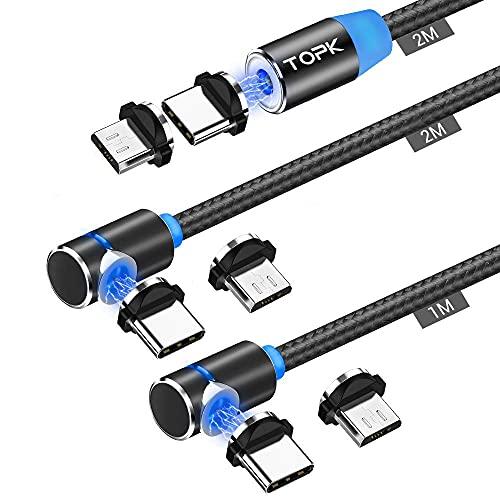 TOPK - Cable de carga magnético (3 paquetes) trenzado, nailon, cable USB...