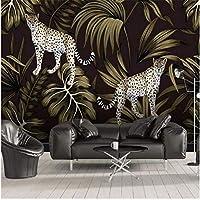 Iusasdz ヨーロピアンスタイルの手描きの熱帯植物チーター動物の大きな背景の壁120X100Cm