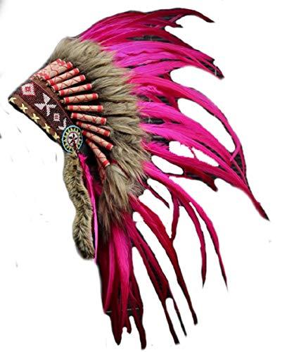 X23 - Sombrero Indio de plumas de color rosa, Penacho / Tocado / Headdress