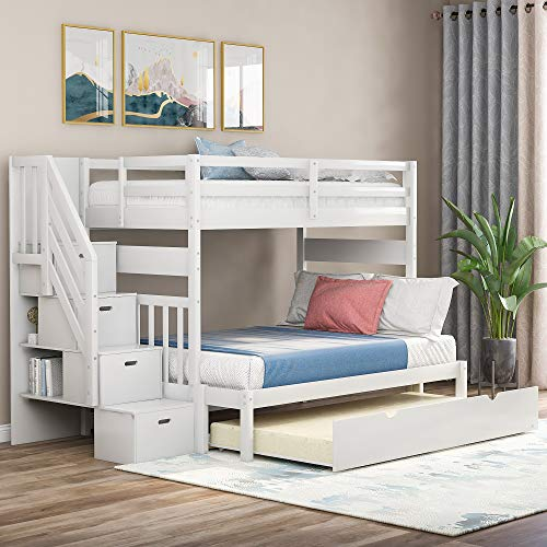 Merax Twin Over Twin/Full Bunk Bed with Twin Size Trundle, Wood Bunk Bed Frames No Spring Box Needed (White)