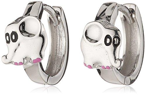 ZEEme Kinder und Jugendliche-Creolen 925 Sterling Silber Klapp Elefant glanz Lack pink/schwarz 273210932R