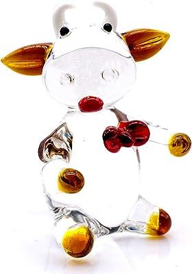 3 Colors Glass Cow Ornament Animal Figurine Handblown Home Decor Multicolors Lady Kids (Yellow)