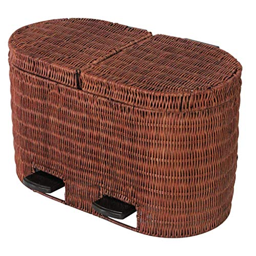 CHUTD Rattan Waste Bin Dual Compartment Step Trash Can,wicker Wastebasket With Lid,retro Garbage Can Rectangular Recycle Bin For Home Kitchen Office B