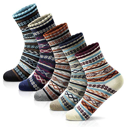 Women's Winter Socks 5 Pairs Thick Wool Soft Warm Casual Socks Vintage...