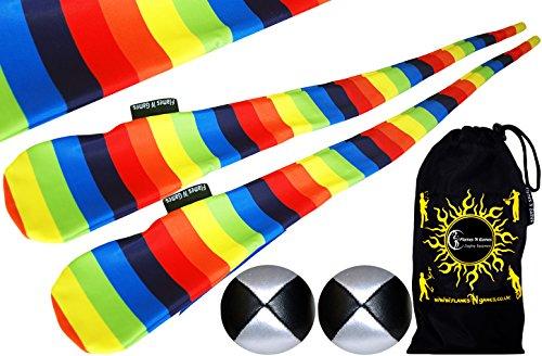 Flames N Games Funky® Pro Socken-Poi (Rainbow) Sock Poi Set inkl. 2X Beanbags Bälle & Reisetasche. Swinging Poi und Spinning Pois! Pois für Anfänger und Profis.