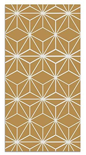 Panorama Tappeto Vinile Stelle Geometriche Senape 60x200 cm - Tappeto da Cucina Piastrelle Antiscivolo - Tappeto Moderno Salotto - Tappeto Lavabile Ignifugo - Tappeto Grande - Tappeto PVC