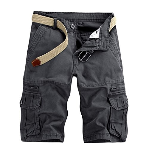 GreatestPAK Pants Pure Color Shorts Herren Outdoor Taschen Strand Arbeit Hosen Cargo Pant,33(L),Dunkelgrau
