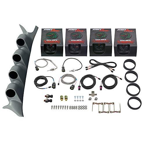 MaxTow Diesel Gauge Package for 1999-2007 Ford Super Duty F-250 F-350 6.0L 7.3L Power Stroke - Black & Green 60 PSI Boost, 1500 F EGT, Transmission Temp & 100 PSI Fuel Pressure - Gray Quad Pillar Pod