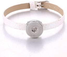 Handmadewovenbracelets,Sanmuxiaozi New White Snap Button Jewelry Leather Strap Style 18Mm Button Bracelet For Women Children Stainless Steel Flower Charms Bracelet