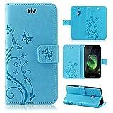 betterfon | Flower Case Handytasche Schutzhülle Blumen Klapptasche Handyhülle Handy Schale für Nokia 2.1 Blau