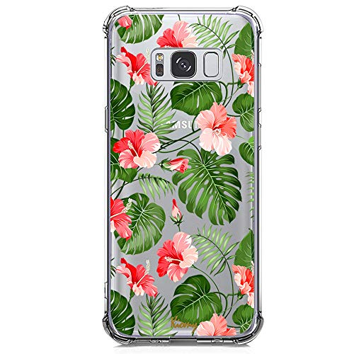 Galaxy S8 Plus Case for Girls Clear with Tropical Flower Design Shockproof Bumper Protective Cases for Samsung Galaxy S8 Plus S8 + Flexible Silicone Slim Fit Palm Tree Leaf Floral Rubber Cover Women