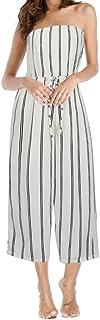 6e8fc38d2e21 INIBUD Jumpsuits for Women Stripes Strapless Off Shoulder Wide Leg High  Waist Sleeveless Striped Summer