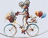 Pittura digitale per adulti cartone animato rana bicicletta pittura digitale anziani anziani bambini kit digitale giovanile pittura pittura digitale(Senza telaio)